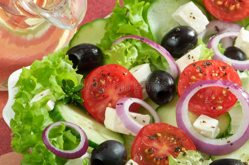 Griechischer Salat-Abschluss oben stockfotografie