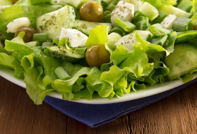 Griechischer Salat in der Platte lizenzfreies stockfoto