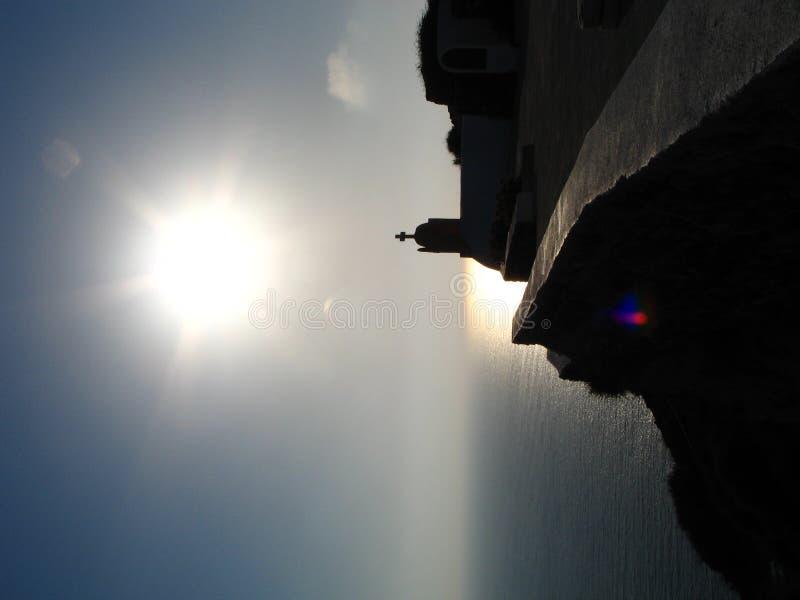 Griechischer Sonnenuntergang lizenzfreie stockbilder