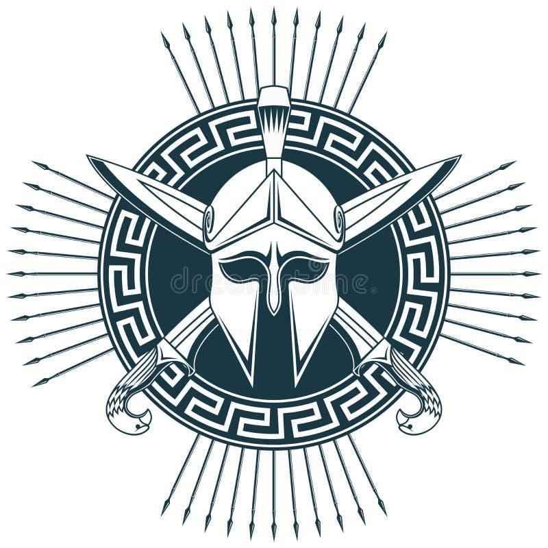 Griechischer Sturzhelm mit gekreuzten Klingen vektor abbildung