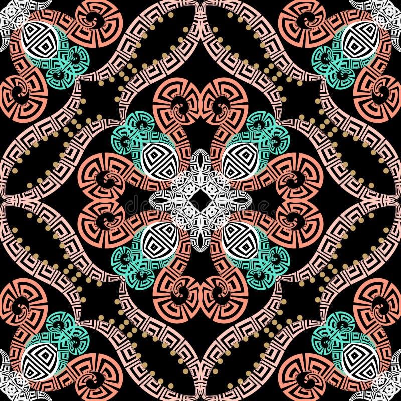 Griechisches buntes nahtloses Muster der ethnischen Art Dekorativer Arabeskenhintergrund des Vektors Wiederholen Sie abstrakten B vektor abbildung