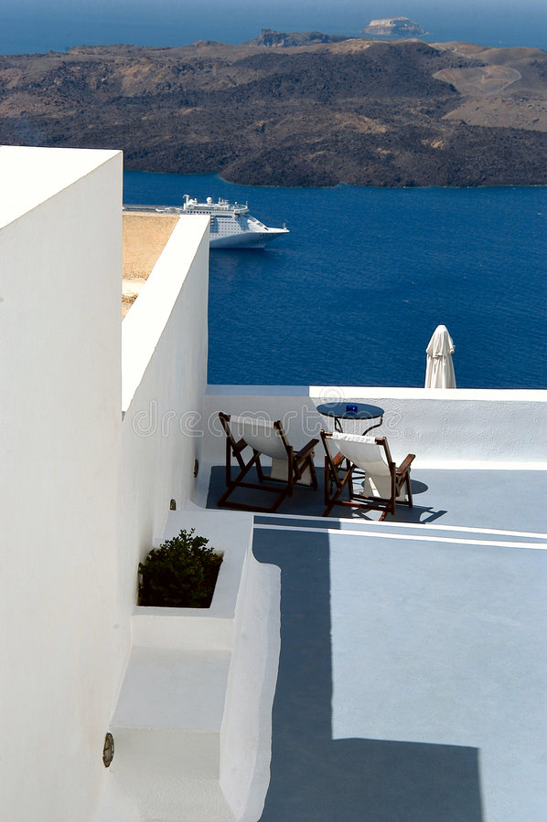 Griechisches Hotel stockfotos