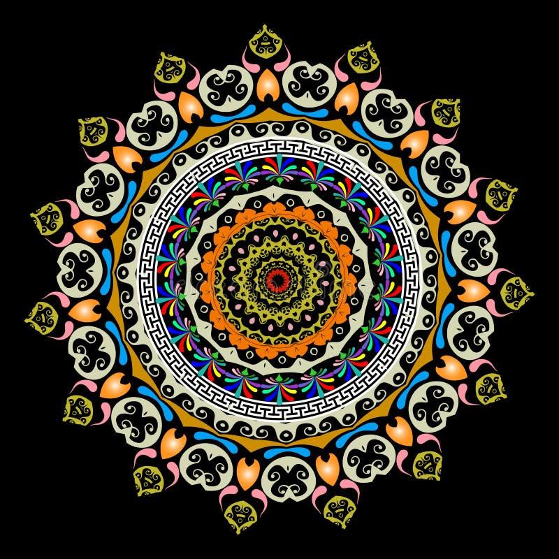 Griechisches Mandalamuster der bunten Runde Dekorativer Blumenhintergrund Ethnischer Artkreis verzieren schöne Paisley-Blumen mit vektor abbildung