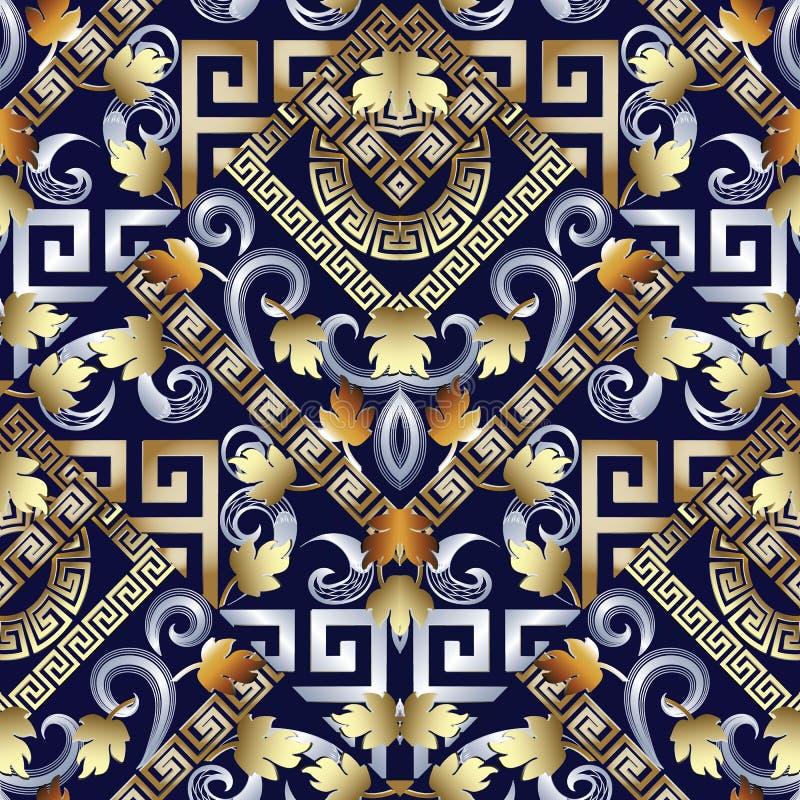 Griechisches nahtloses mit Blumenschlüsselmuster Blauer Hintergrund des Vektors mit g lizenzfreie abbildung