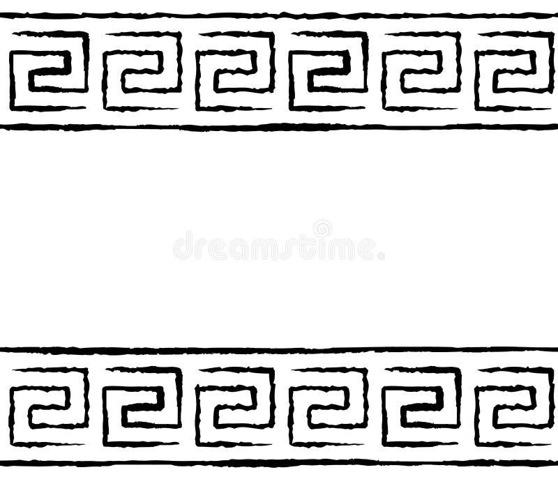 Griechisches nahtloses Schwarzweiss-Muster lizenzfreie abbildung
