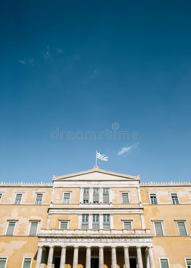 Griechisches Parlament in Athen, Griechenland lizenzfreie stockfotos