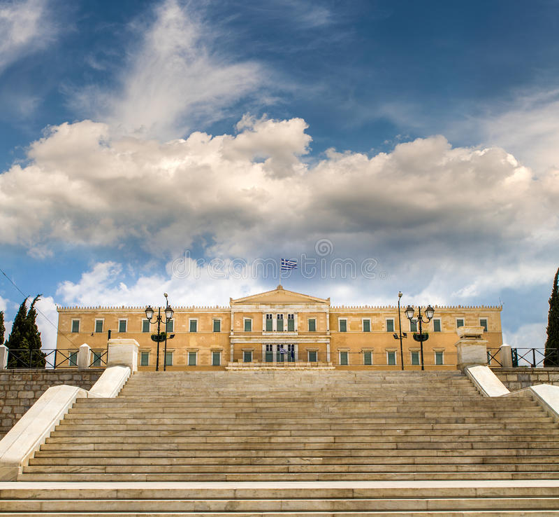 Griechisches Parlamentsgebäude in den Syntagmen quadrieren, Griechenland stockbilder