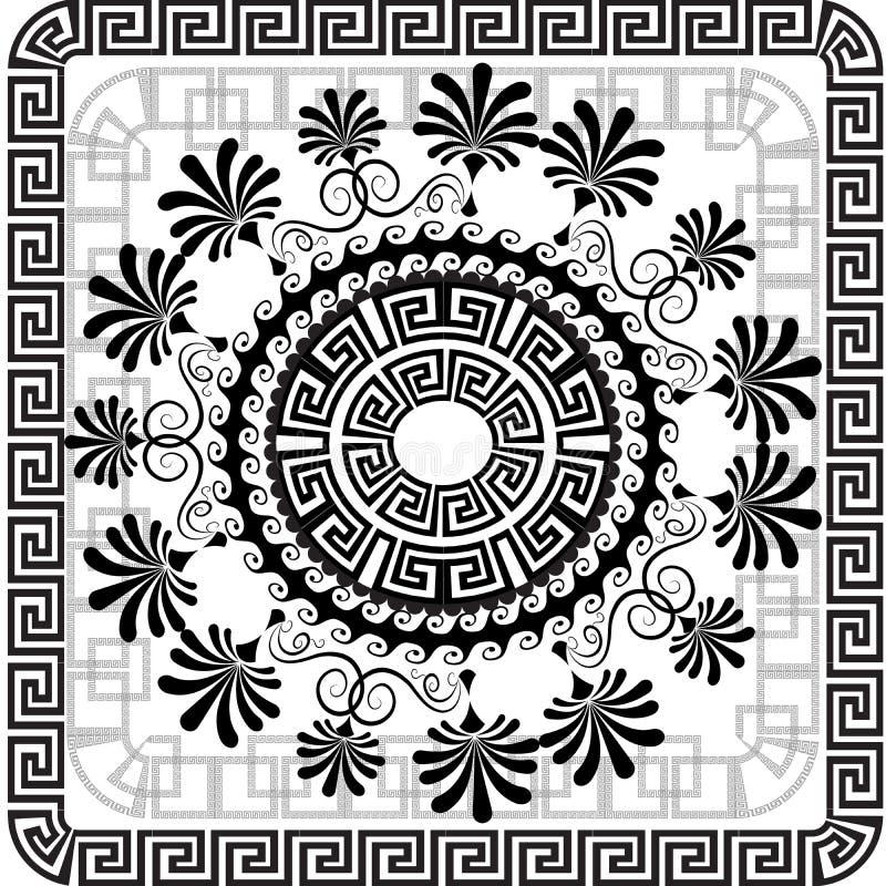 Griechisches Plattenmuster des schönen Vektors Schwarzweiss-geometrisches vektor abbildung