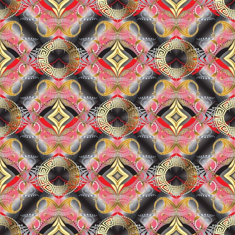 Griechisches Schlüssel- Blumen-nahtloses Muster 3d Toled-Vektor-Hintergrund wa lizenzfreie abbildung