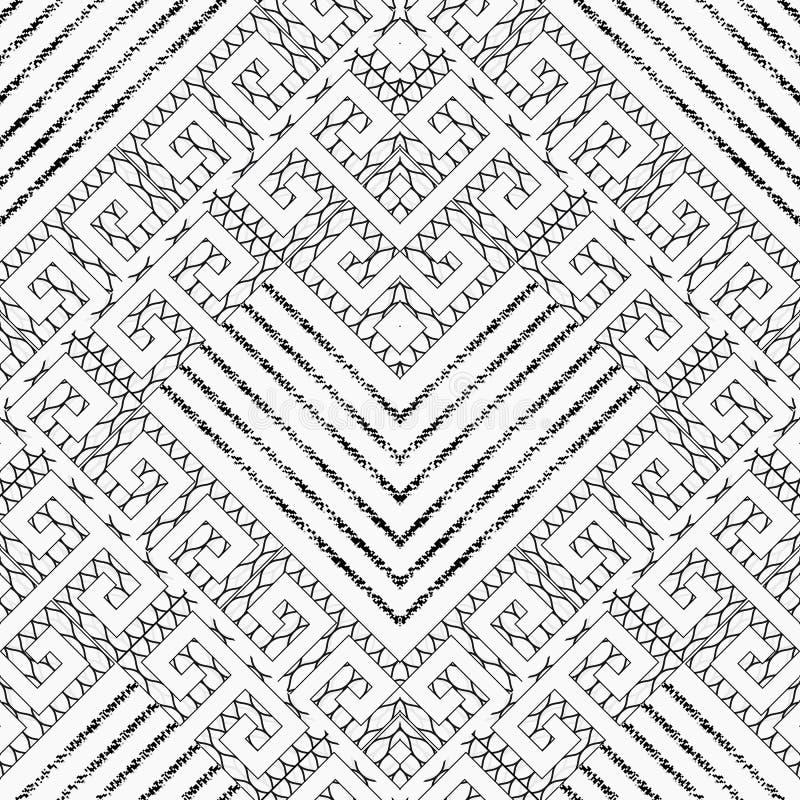 Griechisches schwarzes weißes nahtloses Schlüsselmuster der Windung Vektor geometrisch lizenzfreie abbildung