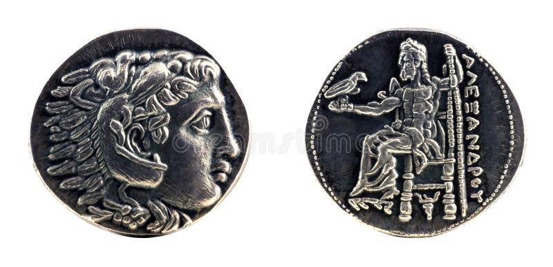 Griechisches silbernes tetradrachm von Alexander der Große lizenzfreies stockbild