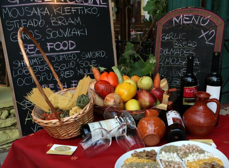 Griechisches taverna Menü steigt 1621 ein lizenzfreies stockbild