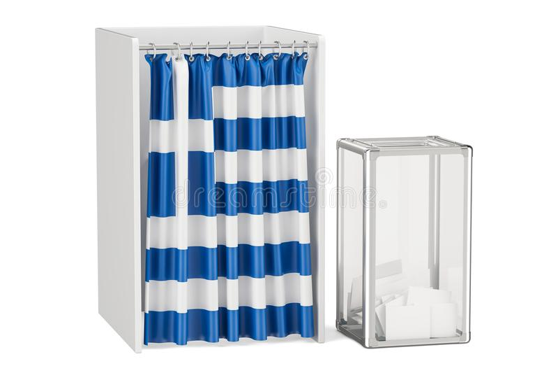 Griechisches Wahlkonzept, Wahlurne und Wahlzellen mit Flagge O stock abbildung
