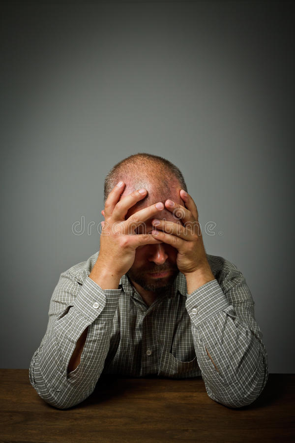 Grief. Man In Thoughts. Stock Images