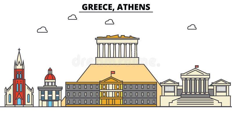 Griekenland, Athene De architectuur van de stadshorizon editable stock illustratie