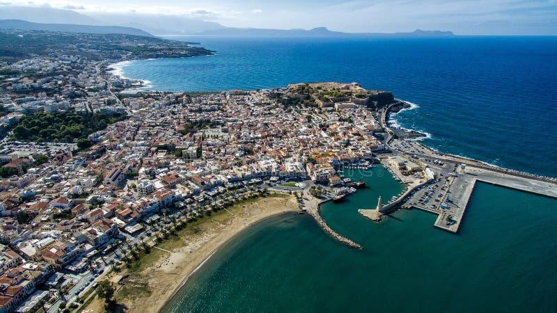 Griekenland Eiland Kreta Rethymno De wedstrijdvuurtoren van de hommelfotografie stock foto