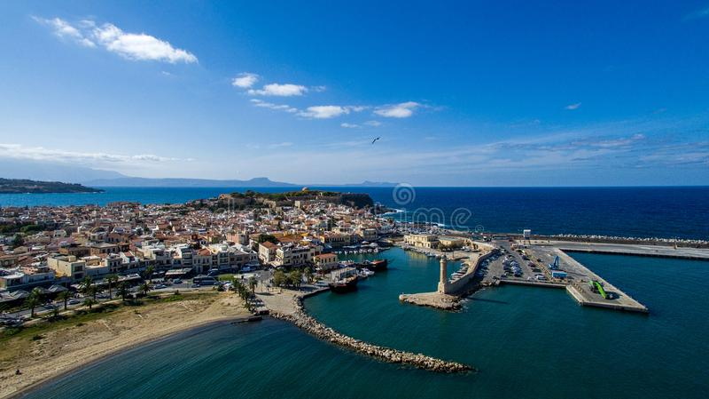 Griekenland Eiland Kreta Rethymno De wedstrijdvuurtoren van de hommelfotografie royalty-vrije stock foto