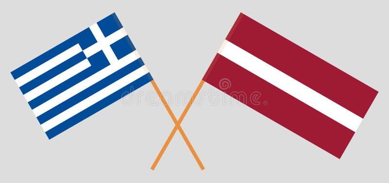 Griekenland en Letland De Griekse en Letse vlaggen Officiële kleuren Correct aandeel Vector vector illustratie
