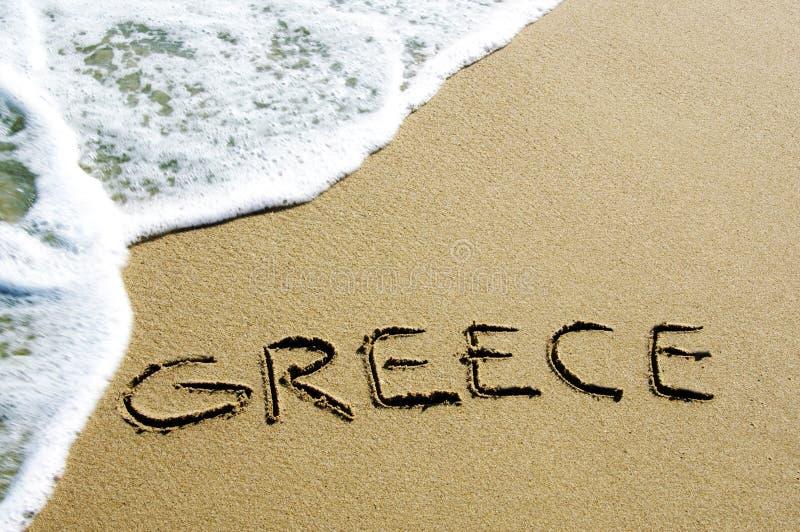 Griekenland in het zand royalty-vrije stock afbeelding