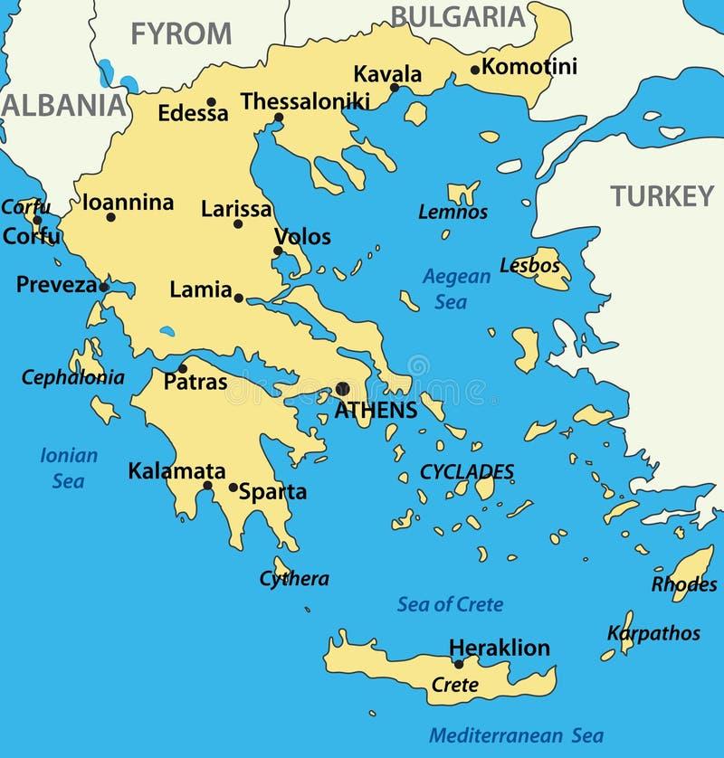 Griekenland - kaart van het land stock illustratie