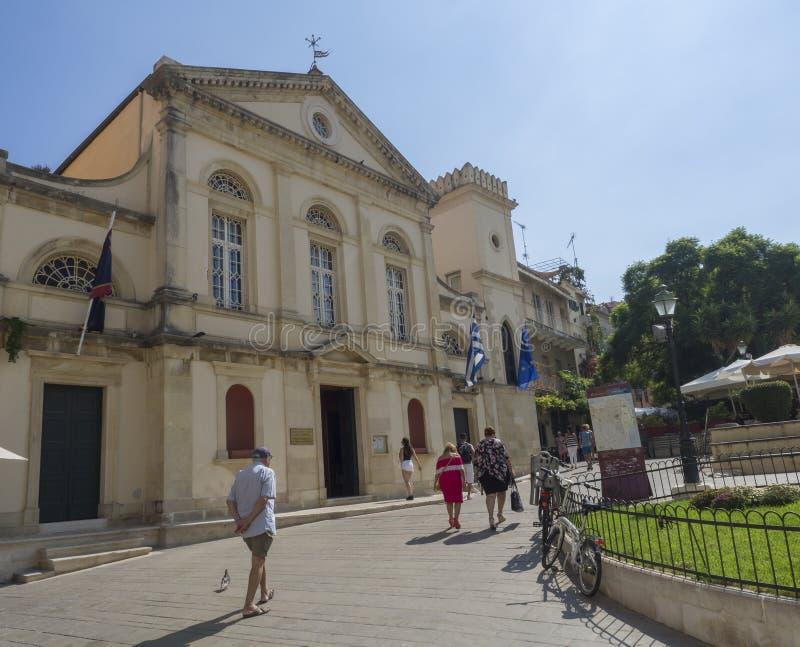 Griekenland, Korfu, Kerkyra-stad, 26 september, 2018: De kathedraal van Heilige Jacob en Heilige Christopher is een zetel van de  royalty-vrije stock afbeeldingen