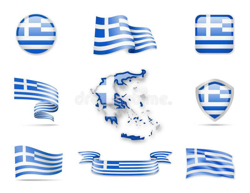 Griekenland markeert Inzameling royalty-vrije stock afbeelding