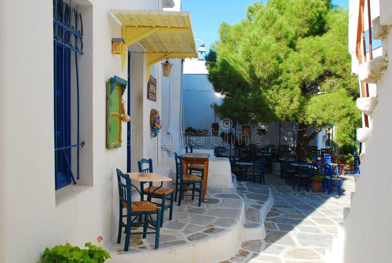 Griekenland, Paros Eiland, koffiebar royalty-vrije stock fotografie