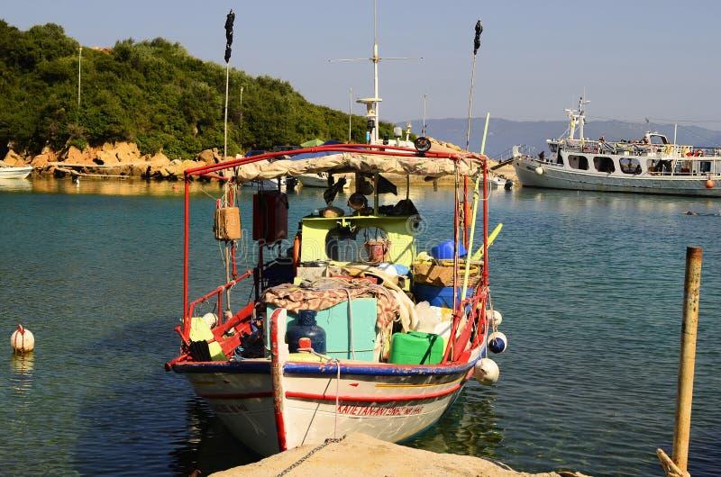 Griekenland, Pelion, Vissersboot stock foto's