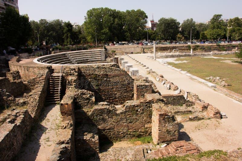 Griekenland, Thessaloniki, de ruïnes van Roman Forum stock afbeelding