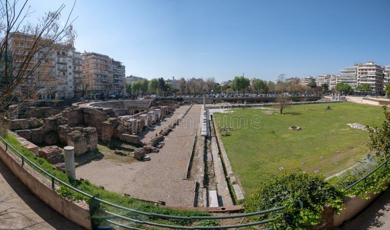 Griekenland, Thessaloniki, de ruïnes van Roman Forum The Agora I - IV eeuwadvertentie stock foto