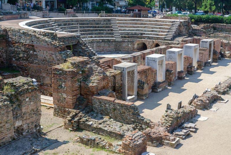 Griekenland, Thessaloniki, de ruïnes van Roman Forum (I - IV centu stock foto's