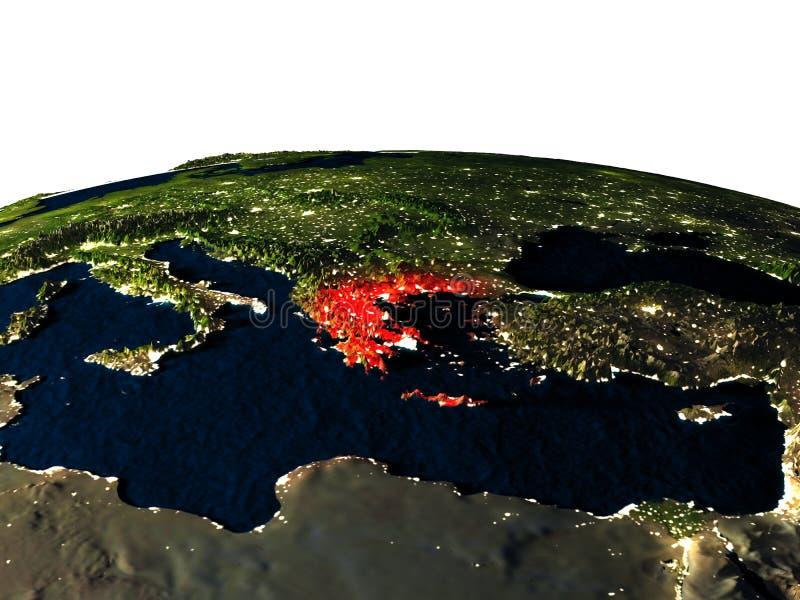 Griekenland van ruimte bij nacht vector illustratie