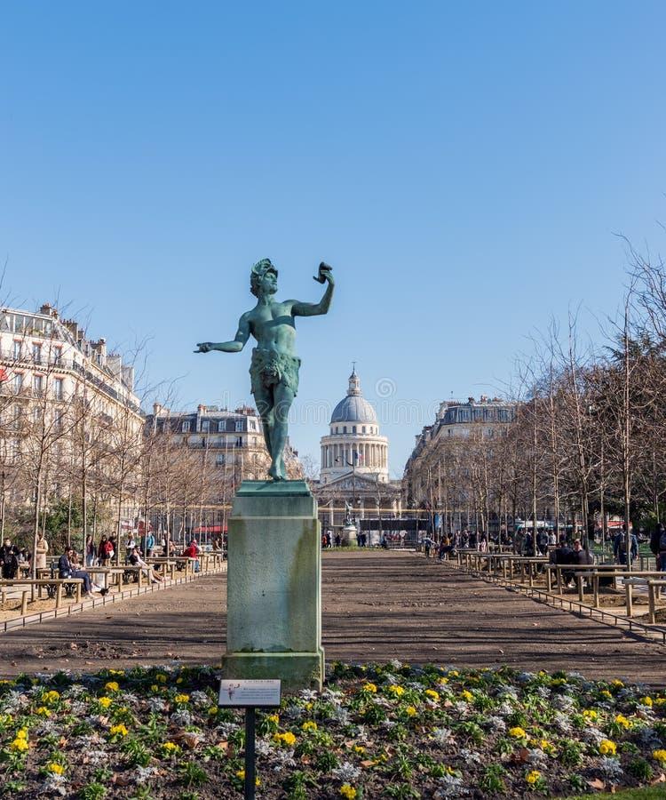 Grieks acteursstandbeeld in de Tuin van Luxemburg - Parijs, Frankrijk stock afbeeldingen