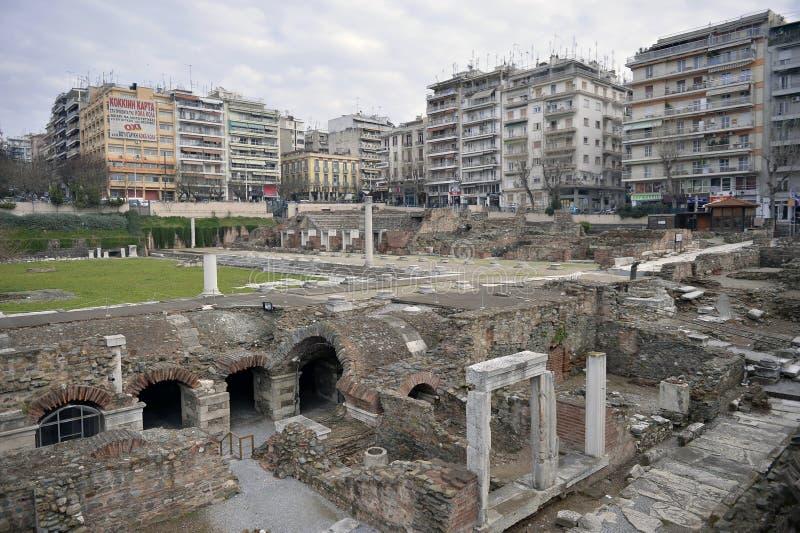 Grieks Agora en Roman Forum, Thessaloniki, Griekenland royalty-vrije stock afbeeldingen
