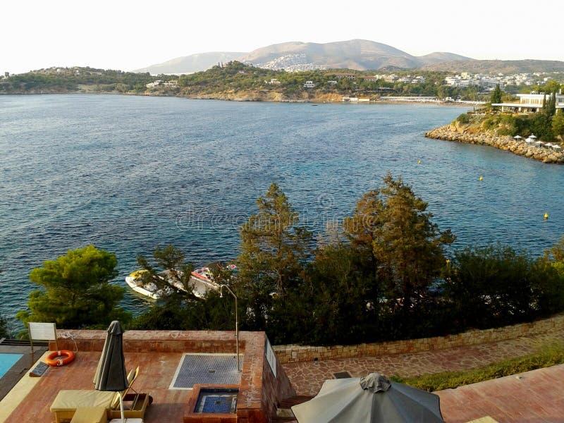 Grieks baaipanorama stock foto's