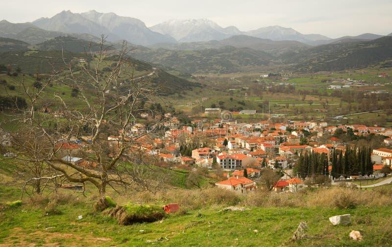Grieks bergdorp van Kalavryta stock afbeelding