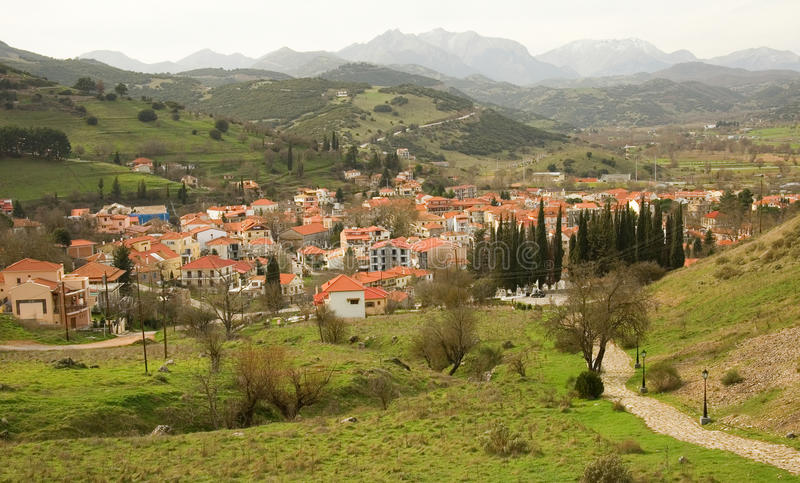 Grieks bergdorp van Kalavryta stock fotografie