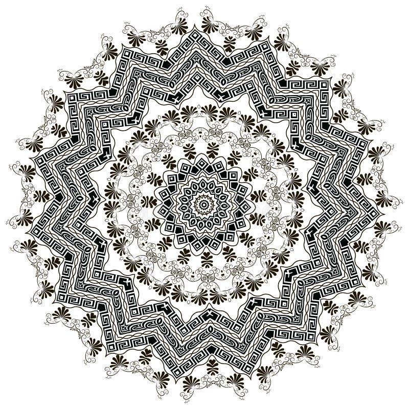 Grieks bloemen zwart-wit vectormandalapatroon Elegante sier etnische achtergrond Stammen Ontwerp geometrisch stock illustratie