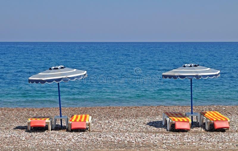Grieks Dakspaanstrand Royalty-vrije Stock Foto