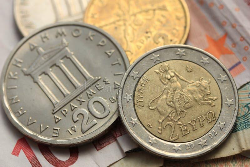 Grieks en euro geld grexit, royalty-vrije stock fotografie