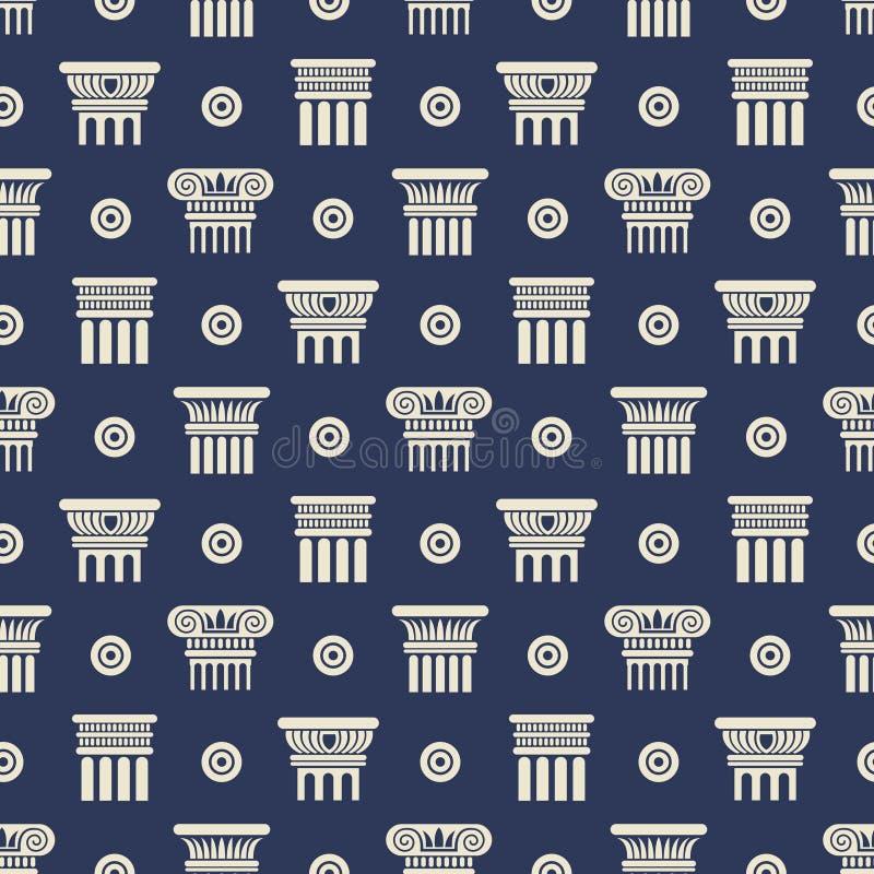 Grieks en roman oud kolommen naadloos patroon vector illustratie
