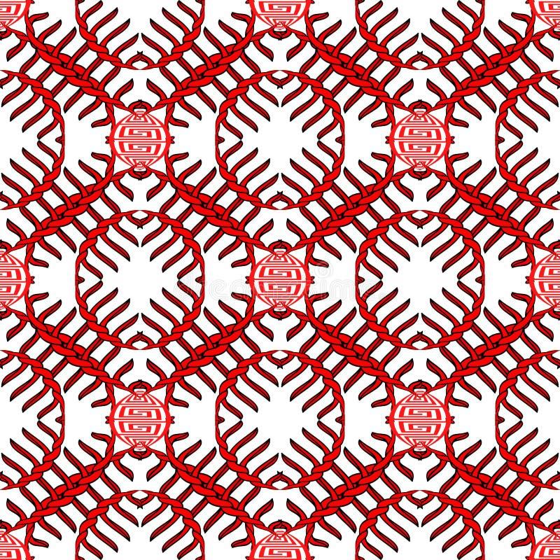 Grieks gevlecht knopen vector naadloos patroon Zwart en rood abstract ornament op witte achtergrond De Griekse sleutel kronkelt s royalty-vrije illustratie