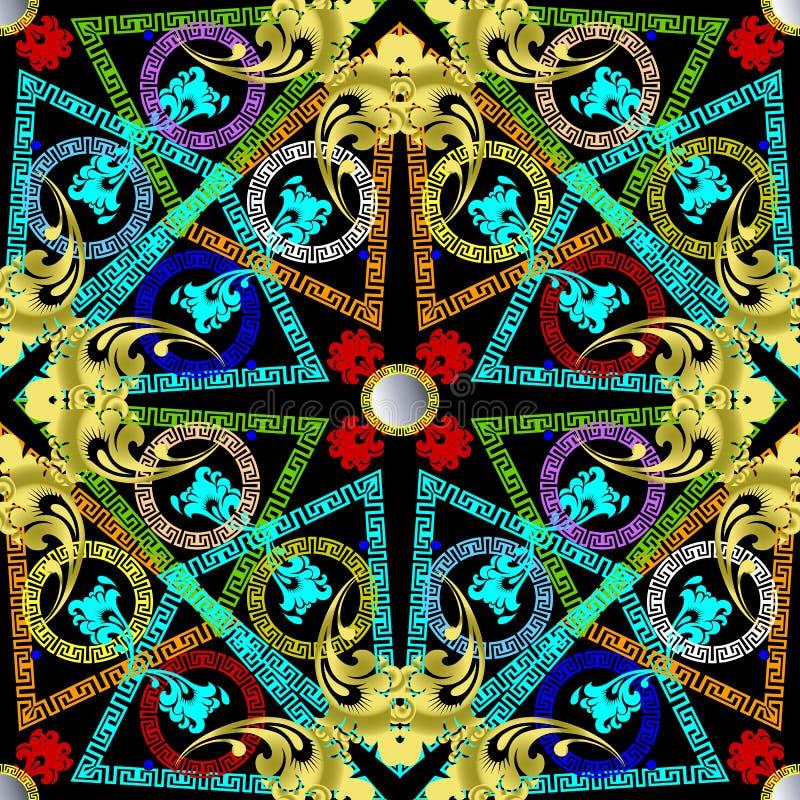 Grieks kleurrijk geometrisch vector naadloos patroon stock illustratie