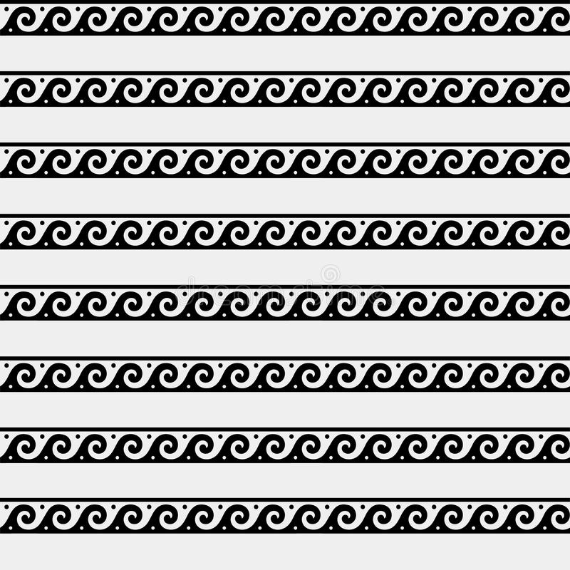 Grieks minimaal zwart-wit patroon, achtergrond, ornament Oude stijl, symbolen, golven royalty-vrije illustratie