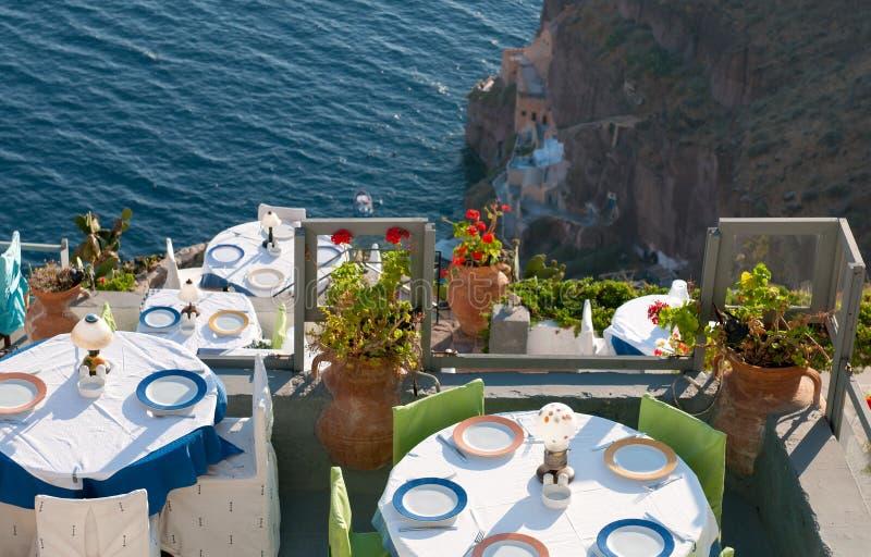 Grieks restaurant, Santorini stock fotografie