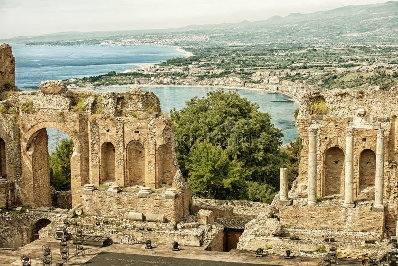 Grieks-roman theater, Taormina HDR stock afbeelding