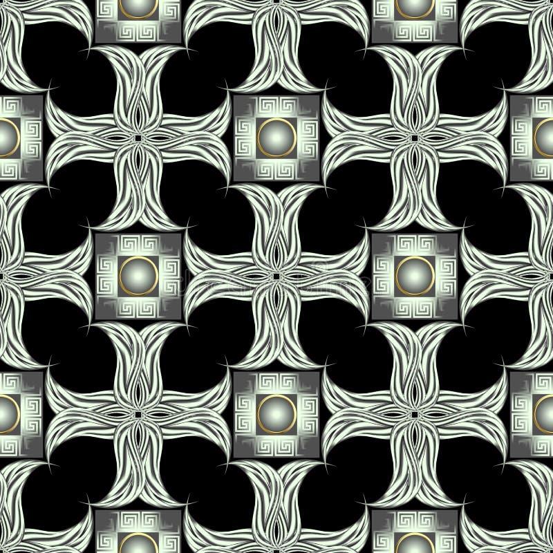 Grieks sier geweven 3d naadloos patroon Vector geometrische controlesachtergrond Herhaal netachtergrond Bloemen uitstekende ornam stock illustratie