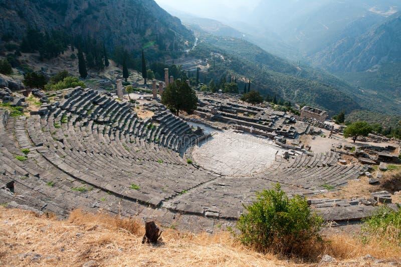Grieks Theater in Delphi stock afbeelding