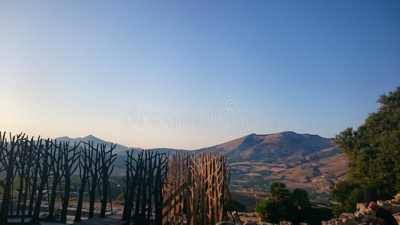 Grieks Theater van Segesta, Segesta, Sicilië stock foto