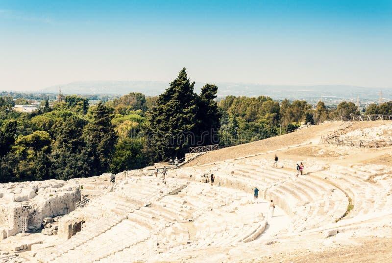 Grieks Theater van Syracuse Siracusa, ru?nes van oud monument, Sicili?, Itali? stock foto's
